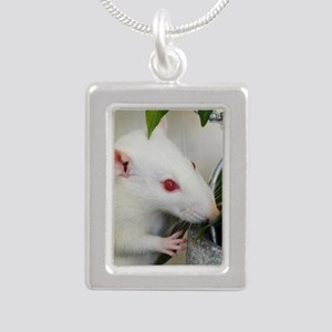 White Pet Rat with Rose Necklaces