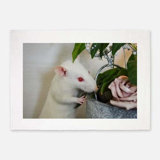 White Pet Rat with Rose 5'x7'Area Rug