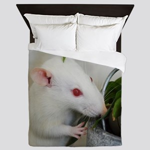 White Pet Rat with Rose Queen Duvet