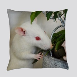 White Pet Rat with Rose Everyday Pillow