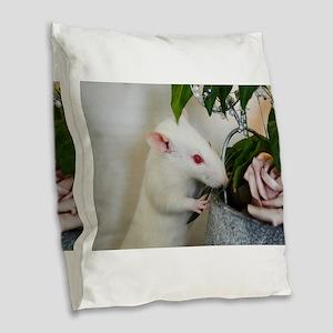 White Pet Rat with Rose Burlap Throw Pillow