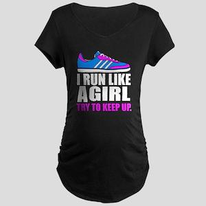 Run Like A Girl  Maternity Dark T-Shirt