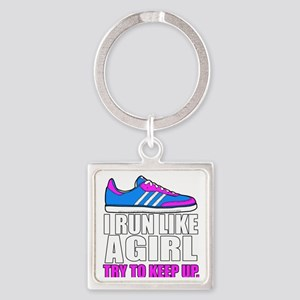Run Like A Girl  Square Keychain