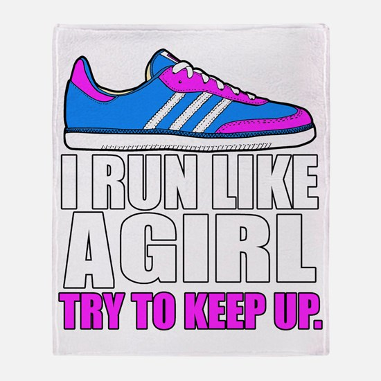 Run Like A Girl  Throw Blanket