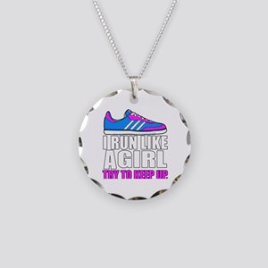 Run Like A Girl  Necklace Circle Charm