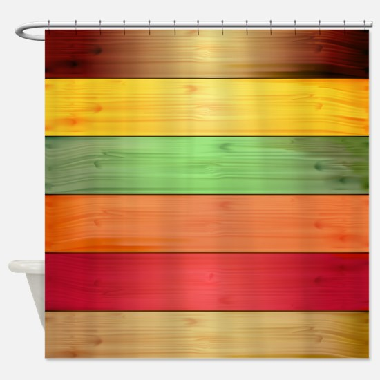 Colorful Wood Panel Texture Backgro Shower Curtain
