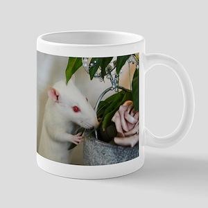 White Pet Rat with Rose Mugs