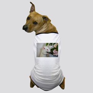 White Pet Rat with Rose Dog T-Shirt