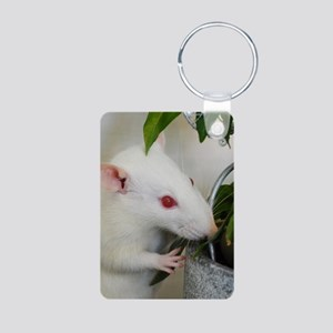 White Pet Rat with Rose Keychains
