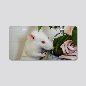 White Pet Rat with Rose Aluminum License Plate