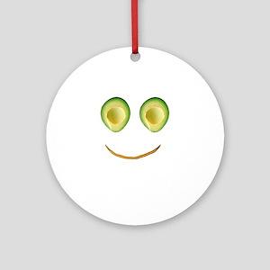 Cute Avocado Face Rieko's Fave Ornament (Round)