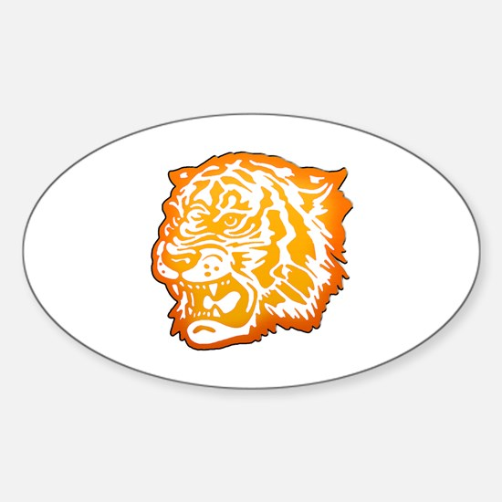 TIGER Orange Yellow Design! Sticker (Oval)