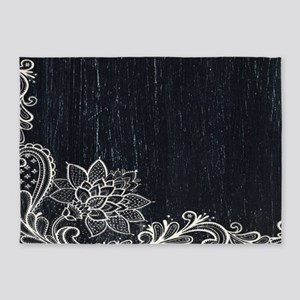 white lace black chalkboard 5'x7'Area Rug