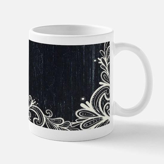 white lace black chalkboard Mugs