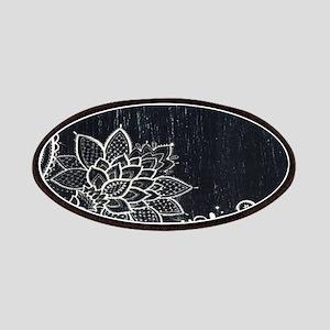 white lace black chalkboard Patch