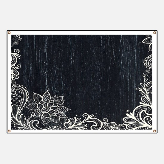 white lace black chalkboard Banner