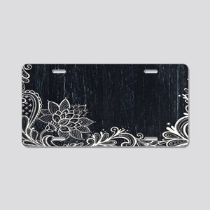 white lace black chalkboard Aluminum License Plate