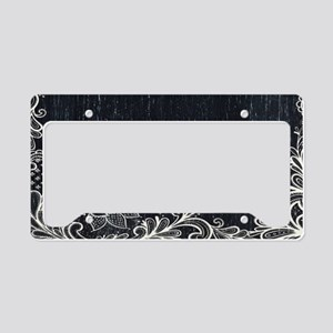 white lace black chalkboard License Plate Holder