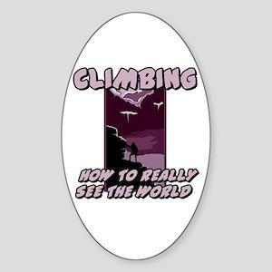 Rock Climbing Oval Sticker