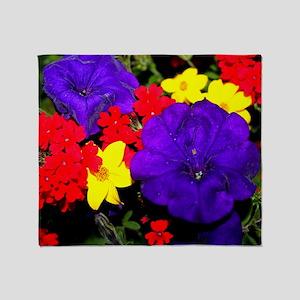 Flowers in primary colors Throw Blanket