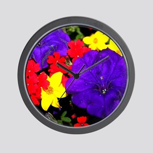 Flowers in primary colors Wall Clock