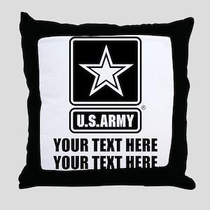 CUSTOM TEXT U.S. Army Throw Pillow