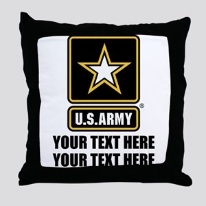 CUSTOM TEXT U.S. Army Throw Pillow