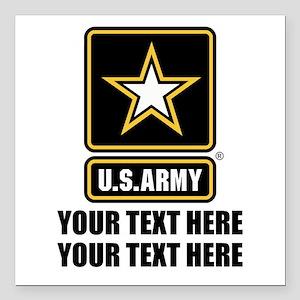 "CUSTOM TEXT U.S. Army Square Car Magnet 3"" x 3"""