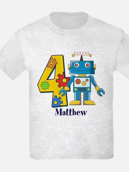 4th Birthday Robot Custom T-Shirt