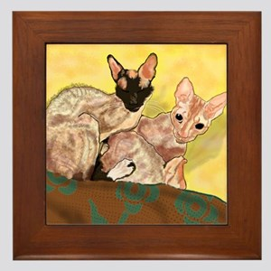 Tiger and George - the Cornish Rex Cat Framed Tile