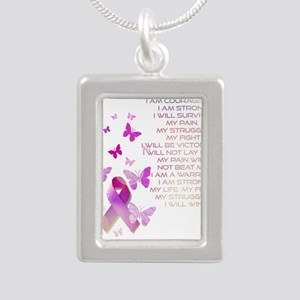 Pink Ribbon, the Fight Silver Portrait Necklace