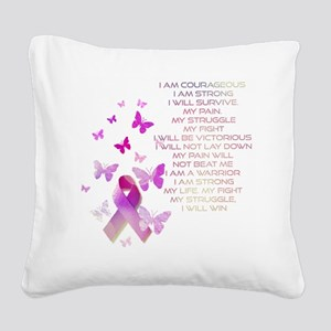 Pink Ribbon, the Fight Square Canvas Pillow