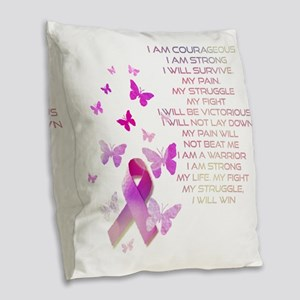 Pink Ribbon, the Fight Burlap Throw Pillow
