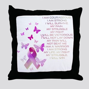 Pink Ribbon, the Fight Throw Pillow