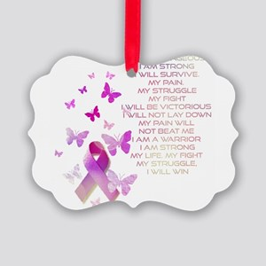 Pink Ribbon, the Fight Picture Ornament