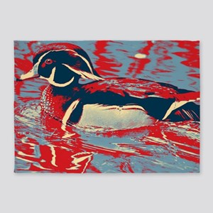 wild lake wood duck 5'x7'Area Rug
