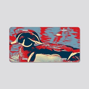 wild lake wood duck Aluminum License Plate