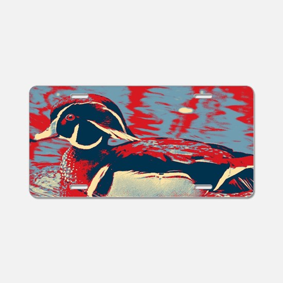 wild lake wood duck Aluminum License Plate