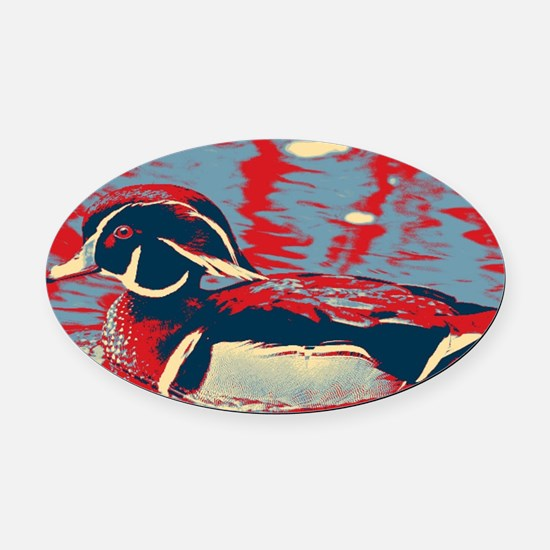wild lake wood duck Oval Car Magnet