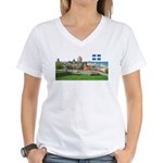 Old Quebec Pano with one Flag Women's V-Neck T-Shi
