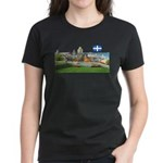 Old Quebec Pano with one Flag Women's Dark T-Shirt