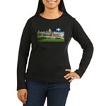 Old Quebec Pano with one Flag Women's Long Sleeve