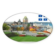 Old Quebec Pano with one Flag Oval Sticker