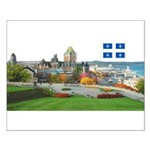 Old Quebec Pano with one Flag Small Poster