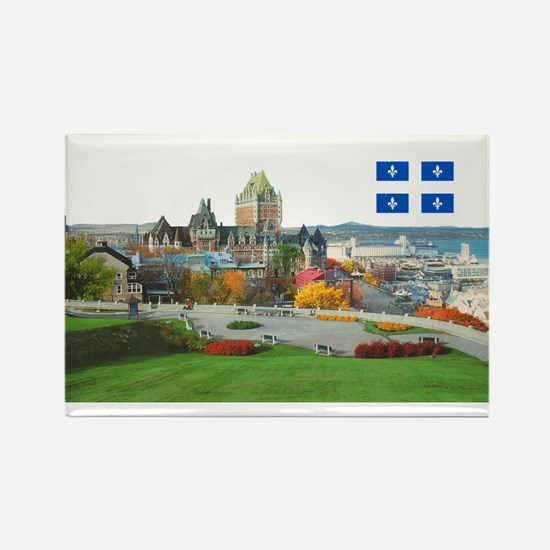 Old Quebec Pano with one Flag Rectangle Magnet