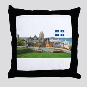 Old Quebec Pano with one Flag Throw Pillow