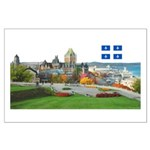 Old Quebec Pano with one Flag Large Poster