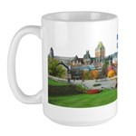 Old Quebec Pano with one Flag Large Mug