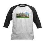 Old Quebec Pano with one Flag Kids Baseball Jersey