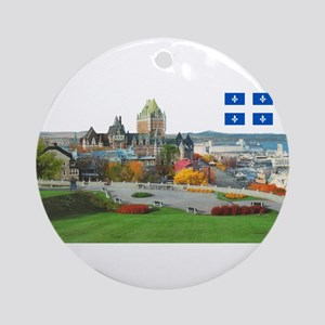 Old Quebec Pano with one Flag Ornament (Round)